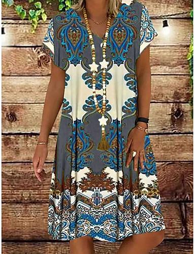 hesapli Print Dresses-Kadın's Kombinezon Elbise - Kısa Kol Çiçekli Yaz Zarif 2020 YAKUT Sarı Haki Yonca Gri S M L XL XXL XXXL XXXXL XXXXXL