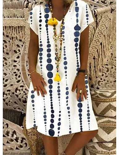 preiswerte Bedruckte Kleider-Damen Etuikleid Knielanges Kleid - Kurzarm Geometrisch Druck Sommer V-Ausschnitt Freizeit Urlaub 2020 Weiß M L XL XXL XXXL XXXXL XXXXXL