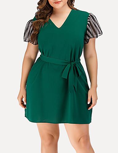 cheap Plus Size Dresses-Women's A-Line Dress Short Mini Dress - Short Sleeve Striped Solid Color Mesh Patchwork Summer V Neck Casual Streetwear Daily Going out Flare Cuff Sleeve 2020 Green L XL XXL XXXL XXXXL