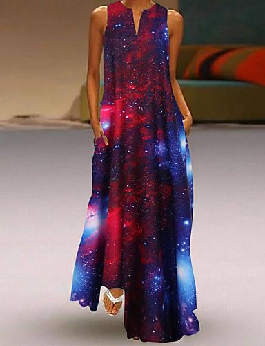 abordables Robes Femme-Femme 2020 Rouge Bleu Eté Automne Robe Simple Chic de Rue Quotidien Sortie Trapèze Gaine Géométrique S M