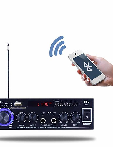 cheap Amplifiers & Effects-Power Amplifier Digital Audio Stereo Hi-Fi 40+40 2.0 BT-608 Abdomen Microphone 80 for Car Home Theater Speakers DIY