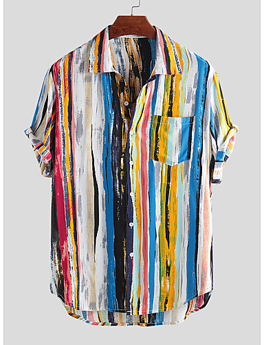 cheap Men's Shirts Best Sale-Men's Rainbow Graffiti Print Shirt Tropical Hawaiian Holiday Casual / Daily Beach Classic Collar Red / Yellow / Short Sleeve
