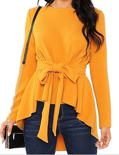 זול חולצות לנשים-בגדי ריקוד נשים אחיד חולצה יומי סוף שבוע יין / שחור / אודם / צהוב / ורוד מסמיק / תלתן