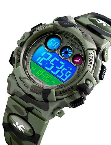 billige Barneklokker-SKMEI Gutt Digital Watch Digital Ny ankomst Vannavvisende Digital Blå Grønn Mørkeblå / Silikon / Stoppeklokke / Selvlysende