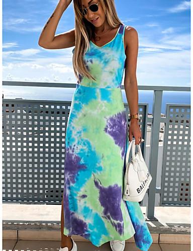 billige Kjoler-Dame Kjole med stropper Midikjole - Ermeløs Batikkfarget Sommer Fritid Mumu 2020 Blå Rosa Oransje S M L XL XXL