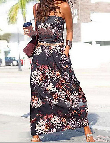 cheap Women's Dresses-Women's A-Line Dress Maxi long Dress - Sleeveless Print Summer Casual Mumu 2020 Black Rainbow S M L XL XXL