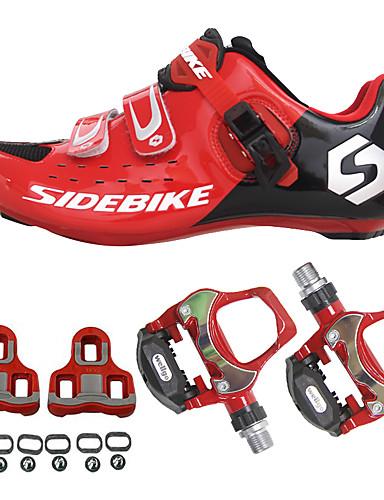 hesapli yaz indirimi-SIDEBIKE Yetişkin Pedallı ve Kelepçeli Bisiklet Ayakkabıları Yol Bisiklet Ayakkabıları Karbon fiber Tamponlama Bisiklet YAKUT Erkek Bisiklet Ayakkabıları / Hava Alan File