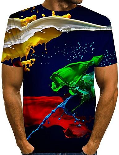お買い得  メンズトップス-男性用 幾何学模様 グラフィック Tシャツ 日常 ブルー / パープル / イエロー / グリーン / ライトグレー / ベージュ