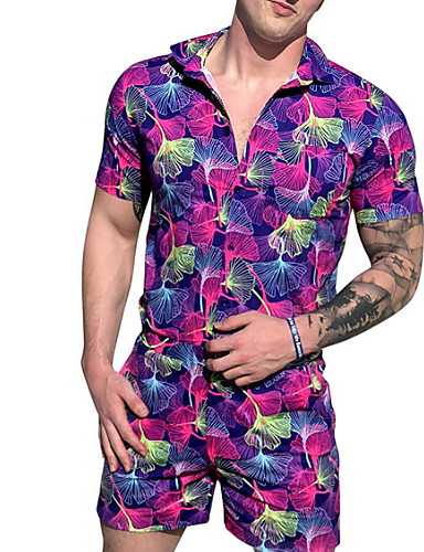 tanie Męskie spodnie i szorty-Męskie Podstawowy Fioletowy Jednoczęściowe Śpiochy dla dorosłych, Kwiaty Nadruk US32 / UK32 / EU40 US34 / UK34 / EU42 US36 / UK36 / EU44