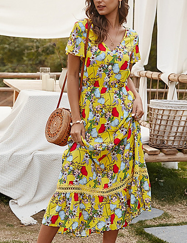 cheap For Young Women-Summer Floral Print Dress