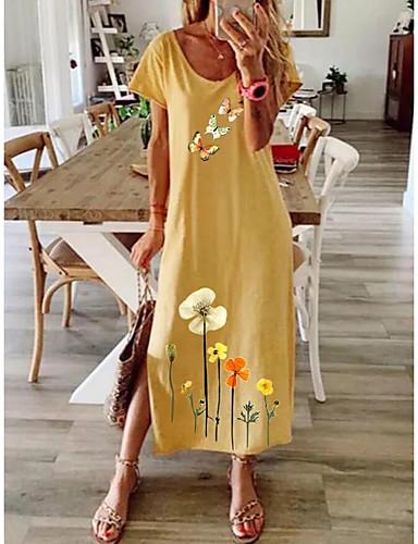 cheap New Arrivals-Women's Shift Dress Midi Dress - Short Sleeves Floral Summer Elegant 2020 Blue Purple Yellow Gray S M L XL XXL XXXL