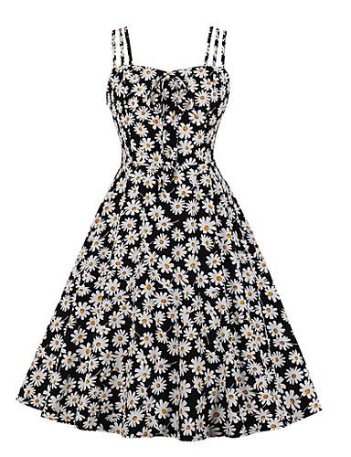 billige Udsalg-Dame Tubekjole Tusenfryd Knelang kjole - Ermeløs Blomstret Sommer Firkantet hals Elegant 2020 Svart Gul Oransje S M L XL XXL XXXL XXXXL
