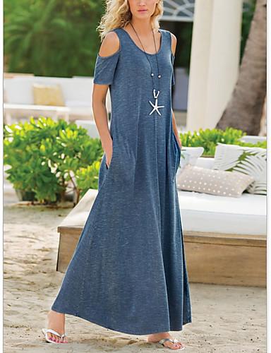 저렴한 신상 드레스-여성용 시프트 드레스 맥시 드레스 - 짧은 소매 한 색상 여름 캐쥬얼 시누아즈리 2020 블랙 푸른 퍼플 그레이 S M L XL XXL XXXL