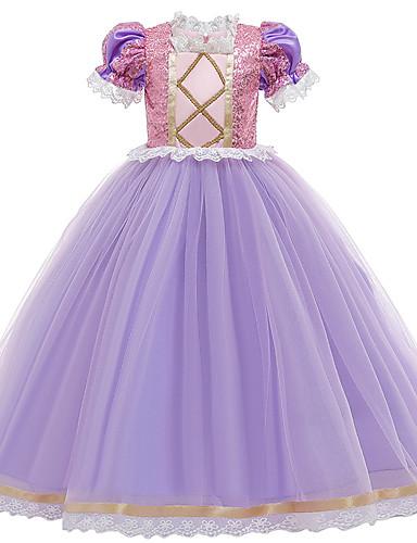 cheap Movie & TV Theme Costumes-Princess Sofia Rapunzel Dress Flower Girl Dress Girls' Movie Cosplay A-Line Slip Purple Dress Children's Day Masquerade Tulle Sequin Cotton