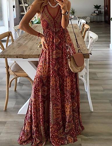 זול שמלות מקסי-בגדי ריקוד נשים גזרת A שמלה - ללא שרוולים גיאומטרי קיץ סגנון רחוב 2020 כתום S M L