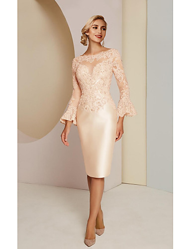 cheap Wedding Guest Dresses-Sheath / Column Mother of the Bride Dress Elegant Vintage Plus Size Jewel Neck Knee Length Lace Satin Long Sleeve with Lace 2020