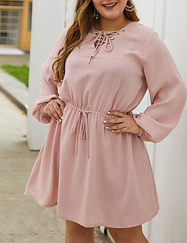 cheap For Young Women-2020 SUMMER Soild Casual Dress PLUS SIZE