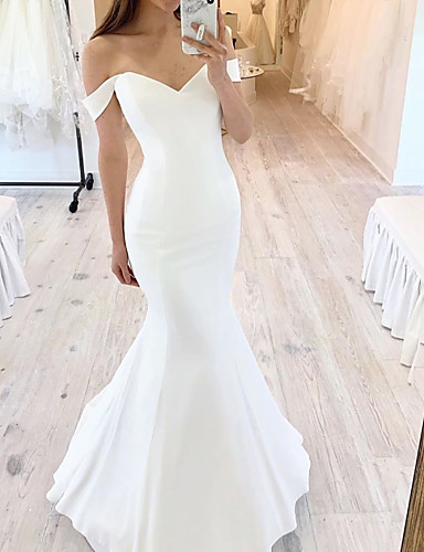 cheap Wedding Dresses-Mermaid / Trumpet Wedding Dresses Off Shoulder Floor Length Satin Short Sleeve Sexy with 2020