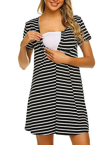 billige Nytt i kjoler-Dame Kjole med A-linje Knelang kjole - Kort Erme Stripet Sommer Kontor 2020 Svart S M L XL XXL