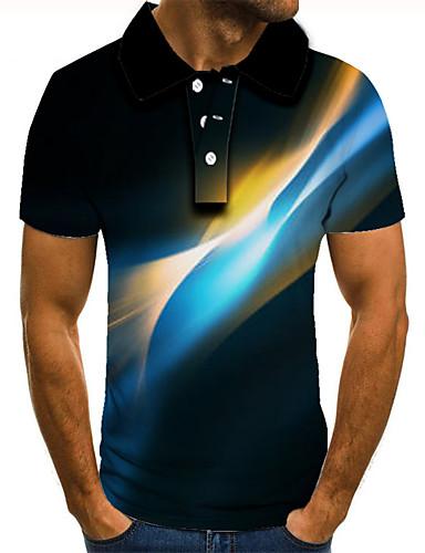 cheap Men's Tops-Men's 3D Graphic Polo Basic Daily Shirt Collar Blue / Purple / Red / Green / Light Green / Light Blue / Short Sleeve