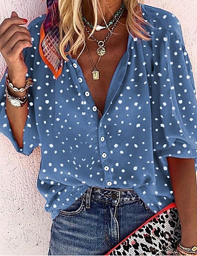 cheap ▶Limited Time Sales◀ Women's Tops-Women's Polka Dot Mesh Blouse Daily V Neck White / Blue / Red / Yellow / Lantern Sleeve