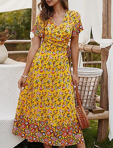 זול לנשים צעירות-בגדי ריקוד נשים שמלה עם כיווץ במותן שמלת מידי - שרוולים קצרים פרחוני קיץ צווארון V יום יומי 2020 צהוב תלתן כחול נייבי S M L XL