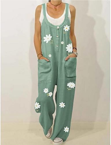 preiswerte Mehr zum Lieben-Damen Schwarz Grün Beige Overall Einteiler, Blumen M L XL