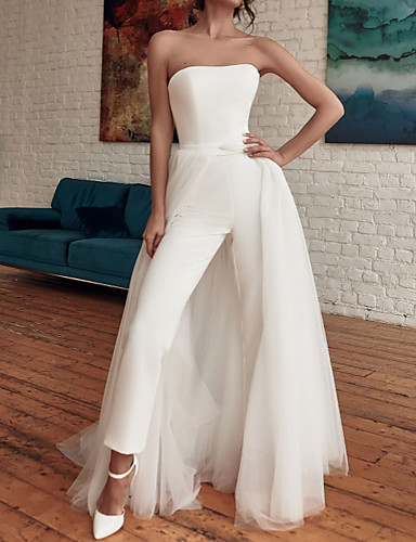 cheap Wedding Dresses-Jumpsuits Wedding Dresses Strapless Sweep / Brush Train Detachable Tulle Stretch Satin Sleeveless Casual Modern with Split Front 2020