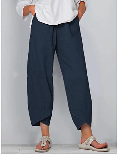 Недорогие Женские брюки и юбки-Жен. Классический Свободный силуэт Широкие Брюки - Однотонный Черный Синий Хаки S / M / L
