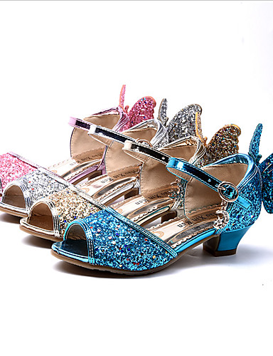 cheap Movie & TV Theme Costumes-Princess Elsa Shoes Girls' Movie Cosplay Sequins Golden / Blue / Pink Shoes Children's Day Masquerade