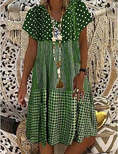 tanie Print Dresses-Damskie Sukienka A-line Sukienka do kolan - Krótkie rękawy Nadruk Lato Casual Wzornictwo chińskie 2020 Czarny Niebieski Fioletowy Zielony S M L XL XXL XXXL XXXXL XXXXXL
