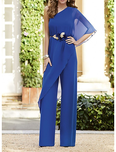 cheap Mother of the Bride Dresses-Pantsuit / Jumpsuit Mother of the Bride Dress Elegant One Shoulder Floor Length Chiffon Half Sleeve with Ruffles 2020