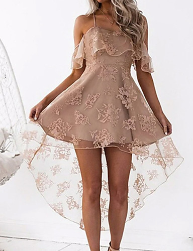 cheap Cocktail Dresses-A-Line Beautiful Back Sexy Homecoming Cocktail Party Dress Spaghetti Strap Sleeveless Short / Mini Satin with Lace Insert 2020