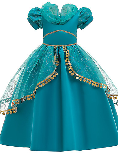 cheap Movie & TV Theme Costumes-Princess Princess Jasmine Dress Flower Girl Dress Girls' Movie Cosplay A-Line Slip Green Dress Children's Day Masquerade Tulle Sequin Cotton