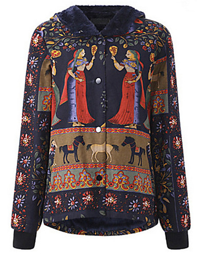 hesapli Kadın Dış Giyim-Kadın's Kış Dolgulu Büyük Bedenler Zıt Renkli Polyester Siyah S / M / L