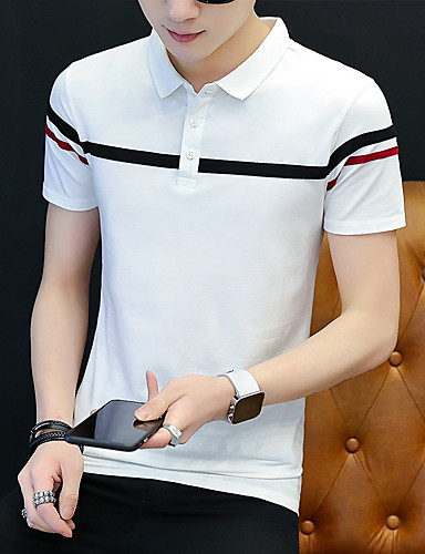 cheap Men's Plus Sizes-Men's Plus Size Striped Color Block Slim Polo - Cotton Business Basic Daily Work Shirt Collar White / Black / Navy Blue / Gray / Short Sleeve