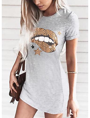 billige Nytt i kjoler-Dame T-skjortekjole Minikjole - Kort Erme Blomstret Sommer Fritid 2020 Svart Rosa Oransje Grå S M L XL XXL