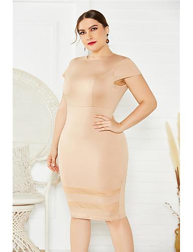 cheap Plus Size Dresses-Women's Wrap Dress Midi Dress - Short Sleeve Solid Color Mesh Patchwork Summer Formal Elegant Party Going out 2020 White Black Khaki XL XXL XXXL XXXXL XXXXXL