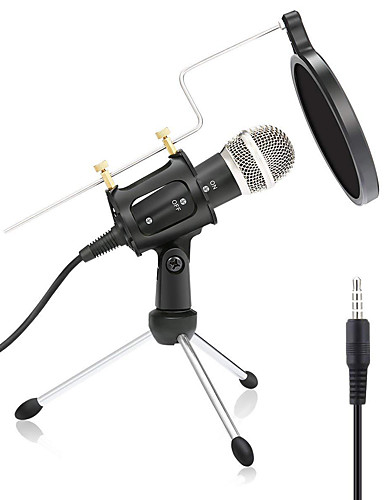 cheap Microphones & Accessories-Wired Microphone Condenser Microphone Pop Filter X-01 3.5mm Jack for Studio Recording & Broadcasting Notebooks and Laptops PC Mobile Phone