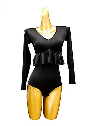 cheap Latin Dancewear-Latin Dance Leotard / Onesie Ruffles Split Joint Women's Performance Long Sleeve Ice Silk