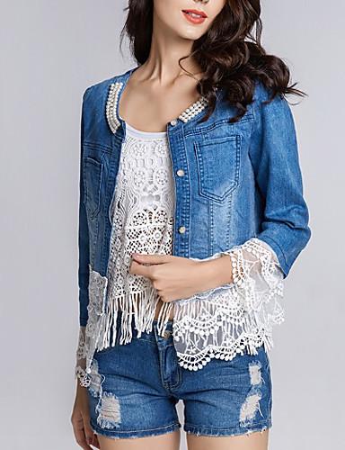 olcso Női felsőruházat-Női Tavasz Traper jakne Napi Hétvége Kollázs Szokványos Egyszínű Kék és fehér Csipke Pamut Kék S / M / L