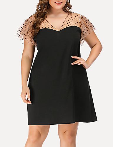 cheap Plus Size Dresses-Women's A-Line Dress Knee Length Dress - Short Sleeve Polka Dot Solid Color Mesh Summer V Neck Casual Streetwear Party Going out 2020 Black L XL XXL XXXL XXXXL