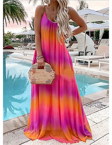 cheap Pretty Dresses Best Seller-Women's Maxi Chiffon Dress - Sleeveless Geometric Summer Mumu Loose 2020 Red Yellow Green Gray Light Blue S M L XL XXL XXXL