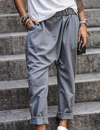 abordables Pantalones para Mujer-Mujer Básico Chinos Pantalones - Un Color Negro Azul Piscina Caqui S M L