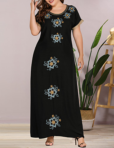 cheap Plus Size Dresses-Women's Shift Dress Maxi long Dress - Short Sleeve Solid Color Lace Embroidered Summer Casual Elegant Daily Going out Loose 2020 Black L XL XXL XXXL