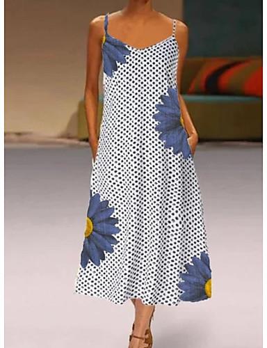 cheap New Arrivals-Women's Shift Dress Midi Dress - Sleeveless Polka Dot Summer Elegant 2020 Gray S M L XL XXL XXXL