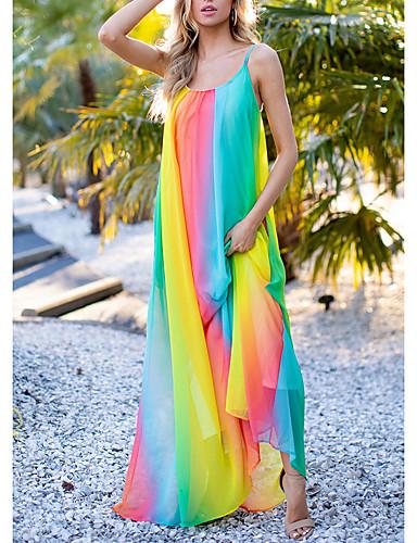 abordables Robes d'été-Femme Robe Trapèze Maxi Sans Manches Eté - Chic de Rue Arc-en-ciel 2020 Orange S M L
