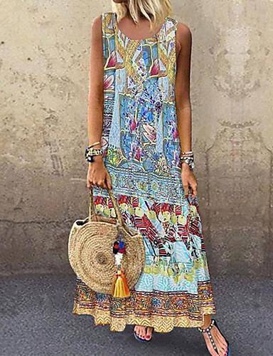 رخيصةأون فساتين فينتيدج قديمة-نسائي A line فستان - بدون كم قوس قزح الصيف الخريف عتيق مناسب للعطلات مناسب للخارج 2020 أزرق S M L XL XXL XXXL XXXXL 5XL