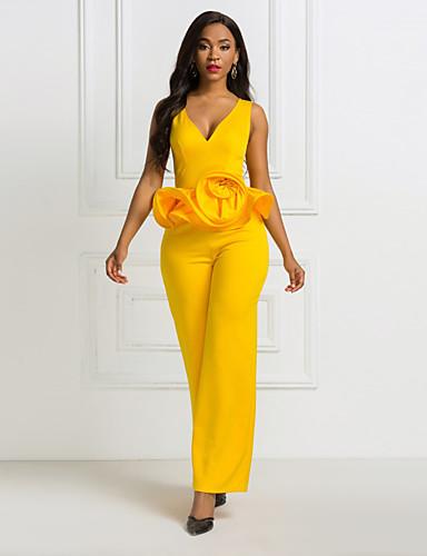 baratos Mais Para Amar-Mulheres Básico Amarelo Macacão Pijama Macacão, Floral / Sólido Patchwork S M L