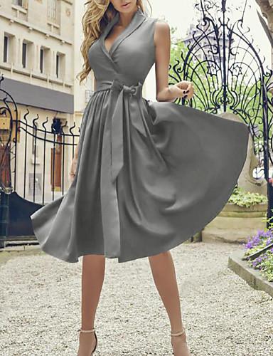 economico Vestiti vintage-Per donna Linea A Vestito - Senza maniche Tinta unica Estate Colletto Stile anni '50 Vintage Taglia piccola 2020 Blu Rosso Verde Grigio S M L XL XXL
